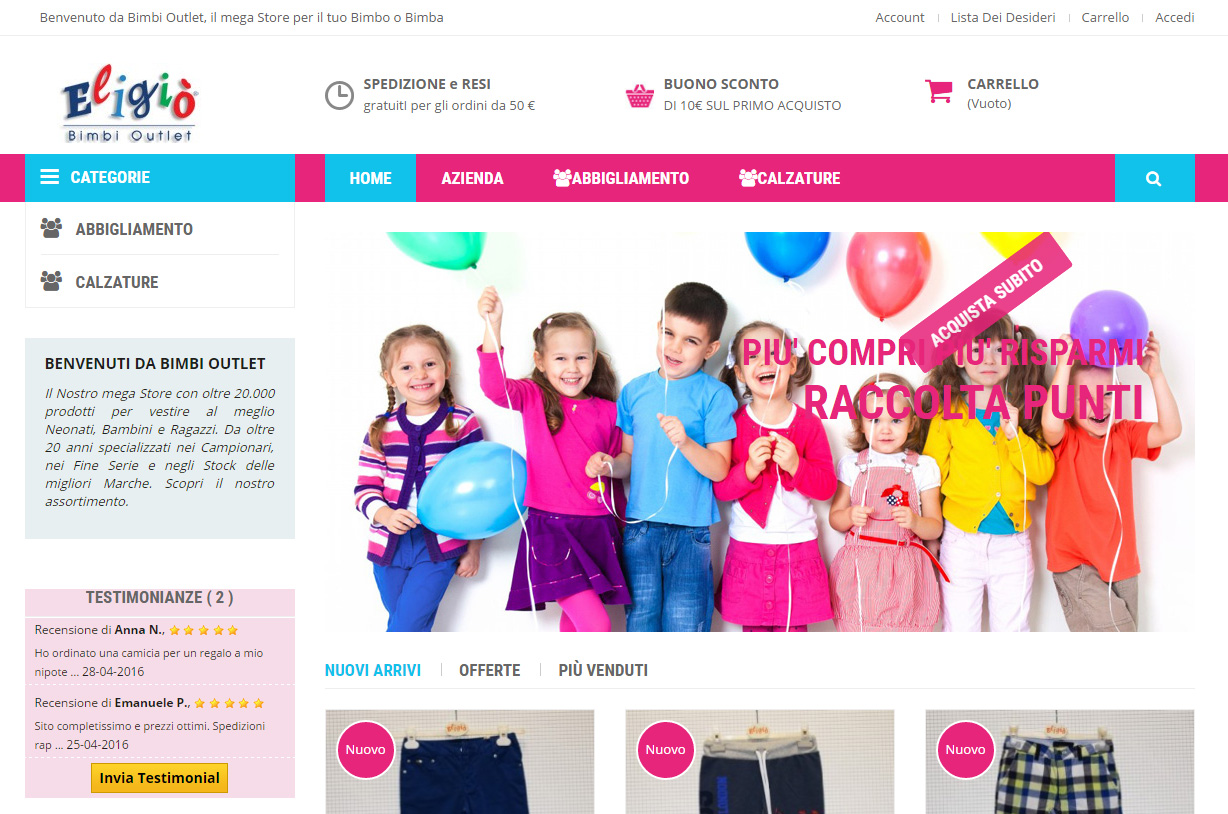 Ecommerce Bimbi OutLet - AG Selling